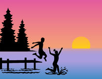 Children Jumping into Lake/eps. Silhouette illustration of children jumping off a dock into a lake stock illustration