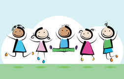 Children jumping. Little children jumping and smiling Stock Photo