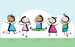 Children jumping stock photo