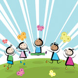 Children jumping stock illustration