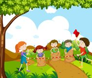 Children jumping in the race. Illustration Royalty Free Stock Photos