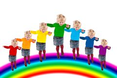 Children jumping on rainbow, collage