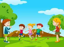 Children jumping rope in the park. Illustration Stock Photography