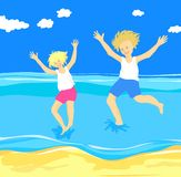 Children jumping in the sea Royalty Free Stock Photo
