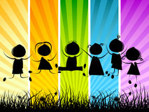 Children jumping. Children silhouettes jumping on colorful background Royalty Free Stock Image