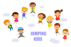 Children jumping together Royalty Free Stock Photography