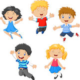 Children jumping together Stock Images