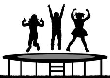 Children jumping on trampoline, silhouette, vector.  royalty free illustration