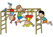 Children on a jungle gym Stock Photo