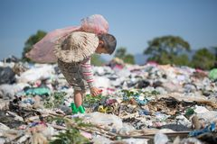 Children are junk to keep going to sell because of poverty, World Environment Day, Child labor, human trafficking, Poverty. Concept stock images
