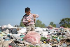 Children are junk to keep going to sell because of poverty, World Environment Day, Child labor, human trafficking, Poverty. Concept royalty free stock photos