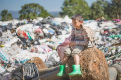 Children are junk to keep going to sell because of poverty, World Environment Day, human trafficking, Poverty concept.  stock photography