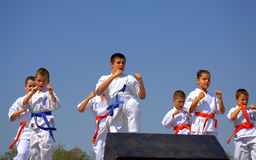 Children karate club demonstration Royalty Free Stock Images