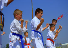 Children karate club show Royalty Free Stock Photos