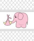 Children karciani z różowym słoniem Obraz Royalty Free
