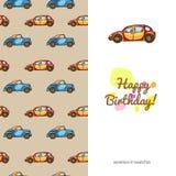 Children kartka z pozdrowieniami śmiesznego koloru kolorowi samochody Zdjęcia Royalty Free