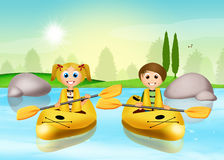 Children on kayak Royalty Free Stock Photos