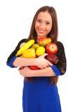 Children keeps in hands a fruit Stock Image