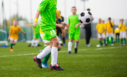 Children kicking soccer ball on sports field Royalty Free Stock Photos