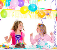 Children kid in birthday party dancing happy laughing Stock Photos