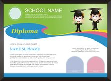 Children - kid diploma - certificate Template with modern design Stock Photo