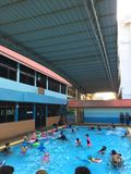 Children kid group in swimming pool Royalty Free Stock Photos