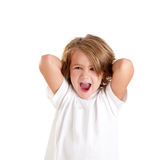 Children kid laughing happy with arms up isolated. On white Royalty Free Stock Photos