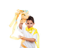 Children kid in a party with messy colorful paper Royalty Free Stock Photography