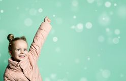 Children kid screaming with happy expression hand up royalty free stock images