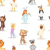 Children kids animal costumes vector characters Christmas party wearing fancy dress masquerade kids holiday seamless Royalty Free Stock Photography