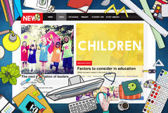 Children Kids Childhood Youth Website Webpage Concept royalty free stock photography