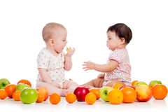 Children Kids Eating Fruits Royalty Free Stock Photos