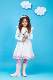 Children kids fashion dress little girl cute smile flower Stock Photo
