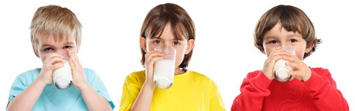 Children kids girl boy drinking milk healthy eating colorful isolated on white royalty free stock photo