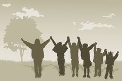 Children Kids With Hands Up Royalty Free Stock Photos