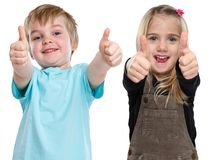 Children kids happy smiling success successful winner thumbs up Royalty Free Stock Photos