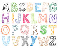 Children kids letter hand drawn cartoon alphabet Royalty Free Stock Photo