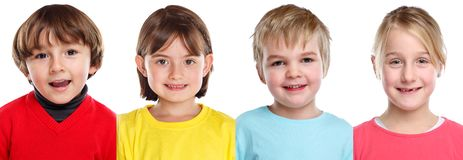 Children kids little girl boy portraits faces in a row isolated on white royalty free stock photography