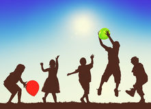 Children Kids Playing Balloons Innocence Concept Stock Photo