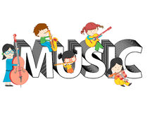 Children and kids playing and sitting on music text vector illustration Stock Photo