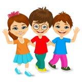 Children kids walking to school. Vector illustration of children kids walking to school and greeting Stock Photography