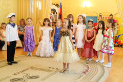 Children in kindergarten 1042 at party royalty free stock photo
