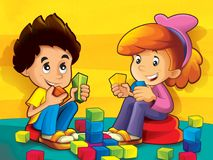 Children in the kindergarten playing blocks. The happy and colorful illustration for the children royalty free illustration