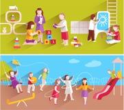 Children In Kindergarten stock illustration
