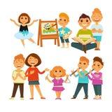 Children kindergarten or school playing activity vector flat icons set Royalty Free Stock Photo