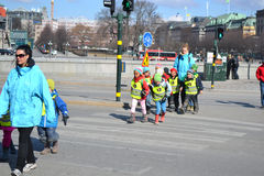 Children from kindergarten on street in Stockholm Royalty Free Stock Photo