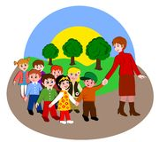 Children from kindergarten to walk. Small children from kindergarten to walk with teacher royalty free illustration