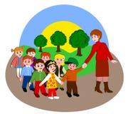 Children from kindergarten to walk Stock Photos
