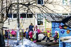 Children in kindergarten for a walk. stock photos