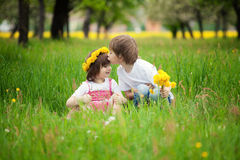 Children kissing in meadow royalty free stock image